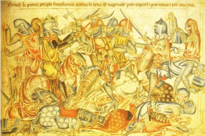 Darstellung der Schlacht von Bannockburn aus der Holkham Bible, 1327–35 (c) Wikimedia