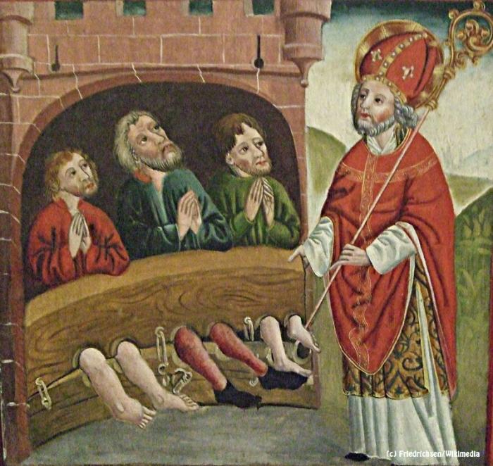 Bild einer Tafel von einem dem Nikolaus von Myra gewidmeten Altar.