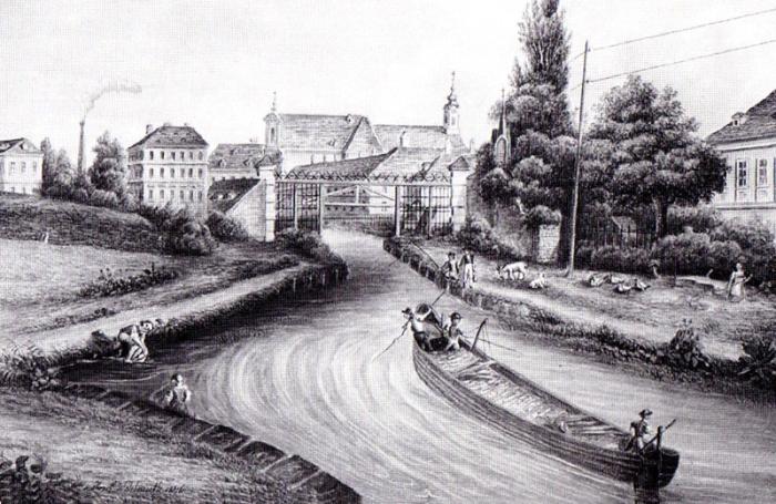 Der Kanal vor der Maut beim Linienwall in Wien. (Bild um 1840) (c) wikimedia