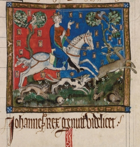 Miniatur: King John  bei der Jagd   © British Library
