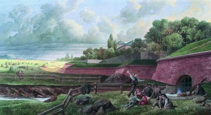 Der Linienwall auf einem historischen Aquarell von A. S. Kronstein | (c) Wien Museum